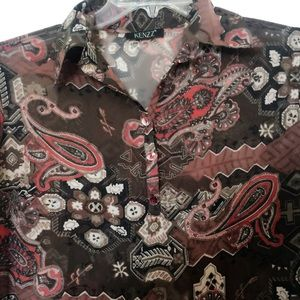 ⭐️KENZZ RED AND BROWN PAISLEY BUTTON DOWN